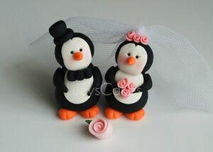 PENGUIN BRIDE AND GROOM WEDDING CAKE TOPPER ENGAGEMENT ANNIVERSARY ...
