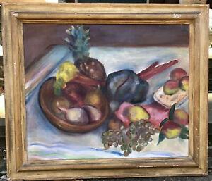 Vintage-Mid-Century-Impressionist-Still-Life-Oil-Painting-Framed-on-canvas