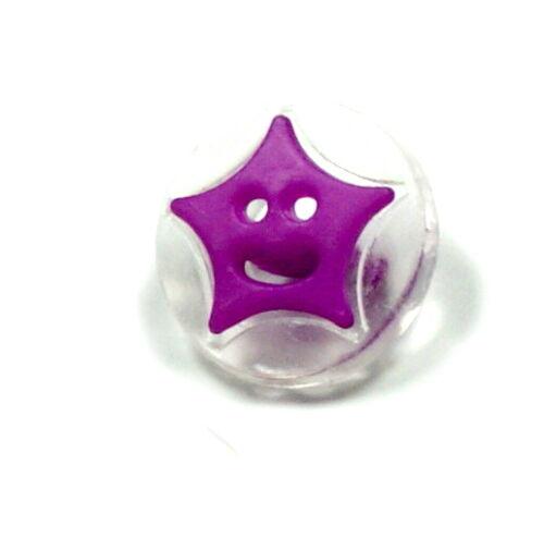 15 Astérisque boutons pour enfants 14 mm Transparent//Couleur coloré//BOUTON//bébé//Mardi Gras