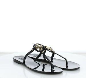 C14 $198 Women's SZ 9 Tory Burch Miller Patent Leather Flip Flop Sandals Black