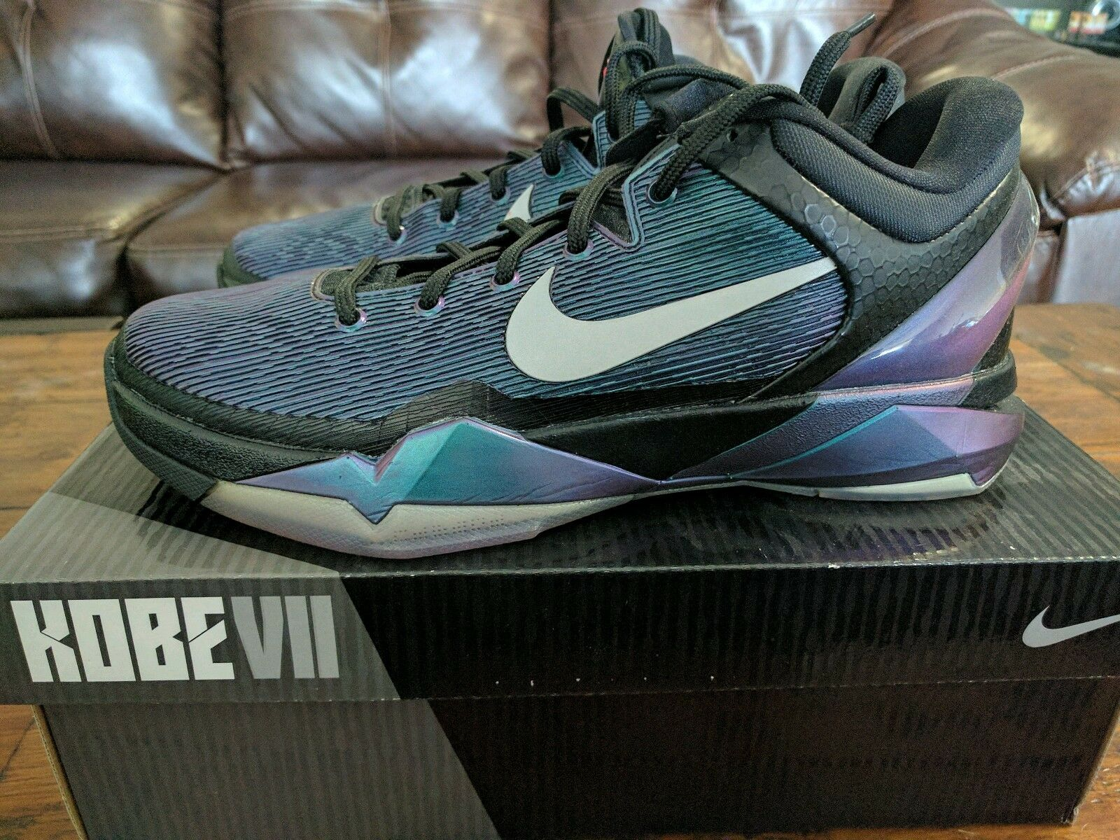 Nike Zoom Kobe 7 VII Invisibility Cloak 488371 005 black purple turquoise 9.5 DS