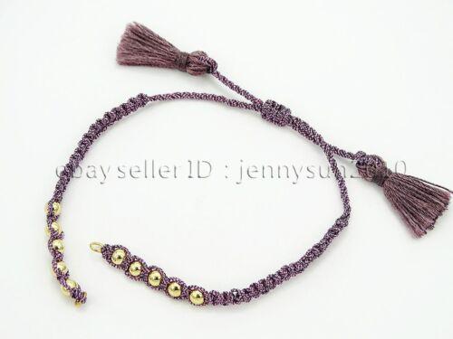 Adjustable Rope Trim Tassel Gold Beaded Bracelet set For Connector Link Findings