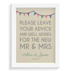 Personalised-wedding-sign-BUNTING-ADVICE-FOR-MR-amp-MRS-GUEST-BOOK-retro-vintage-a