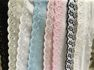 Premium-Quality-Cotton-Broderie-Anglaise-Flat-Lace-Choose-Length-Colour-amp-Width