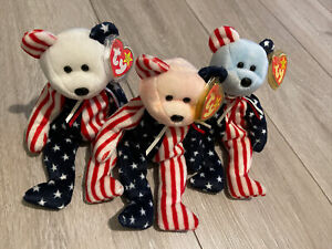 SPANGLE TY Beanie Babies White Red Blue Head Bear Plush Soft Toy Retired Tags