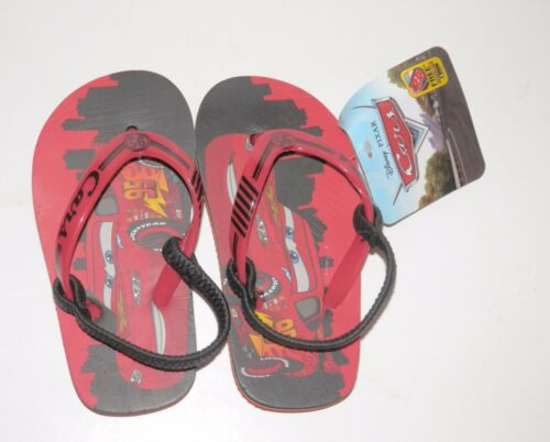 NEW Size 5//6 Boy Lightening McQueen Cars Disney Sandals Black Red flip Flops Sm