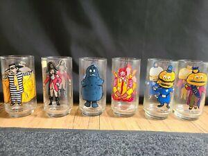Vintage 1977 McDonalds McDonaldland Action Series Glasses Complete Set of 6