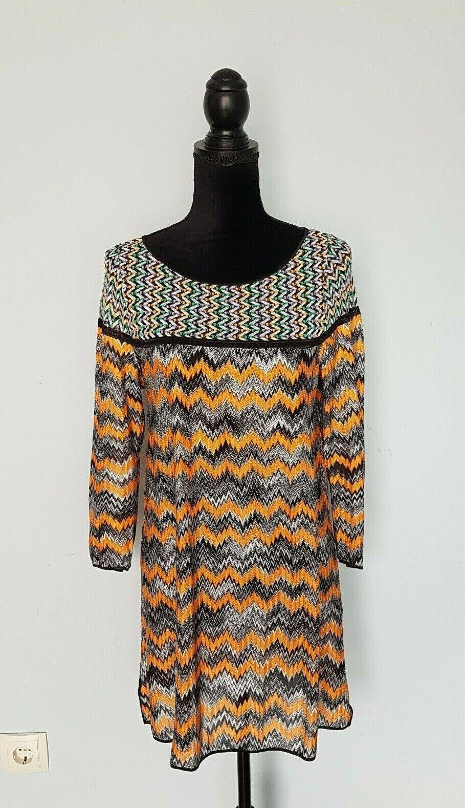 Damen MISSONI Mehrfarbig   Orange  Dress  Kleider Tunika  Langarm Gr.44