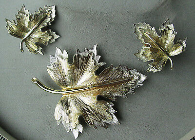 Vintage Sarah Coventry Natures Choice gold and silver leaves pin earrings set