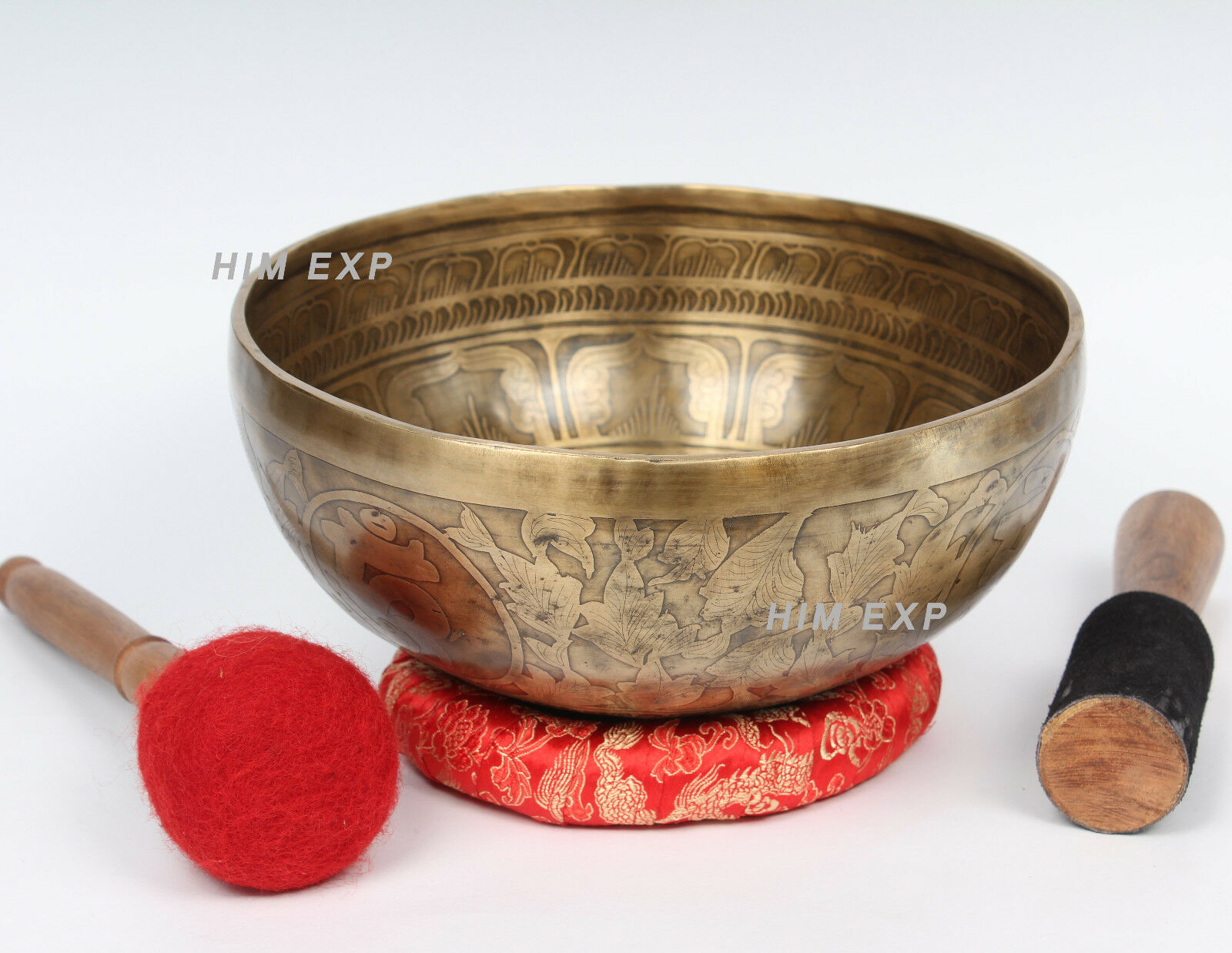 24 Cm  Handmade meditation and Healing Singing Bowl with Symbol Carving