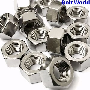 UNF-FINE-THREAD-1-4-034-5-16-034-3-8-034-1-2-034-5-8-034-A2-STAINLESS-FULL-HEXAGONAL-NUTS