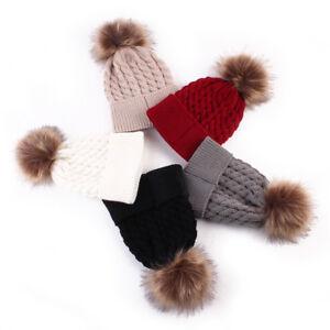 Women Kids Infant Warm Winter Wool Knit Beanie Pom Bobble Hat ... 3bb324d155