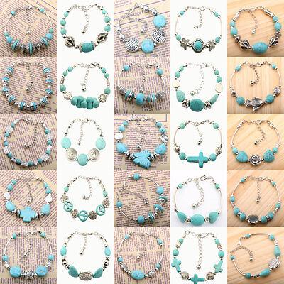 Women's Turquoise Tibetan Silver Plated Bracelet Adjustable Charm Bangle Jewelry