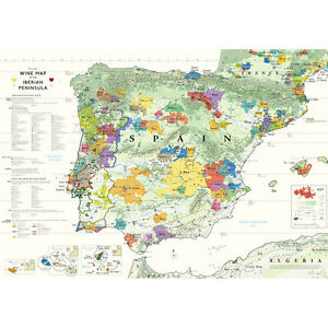 Iberia World Map.De Long S Wine Map Of The Iberian Peninsula Spain Portugal 24 X