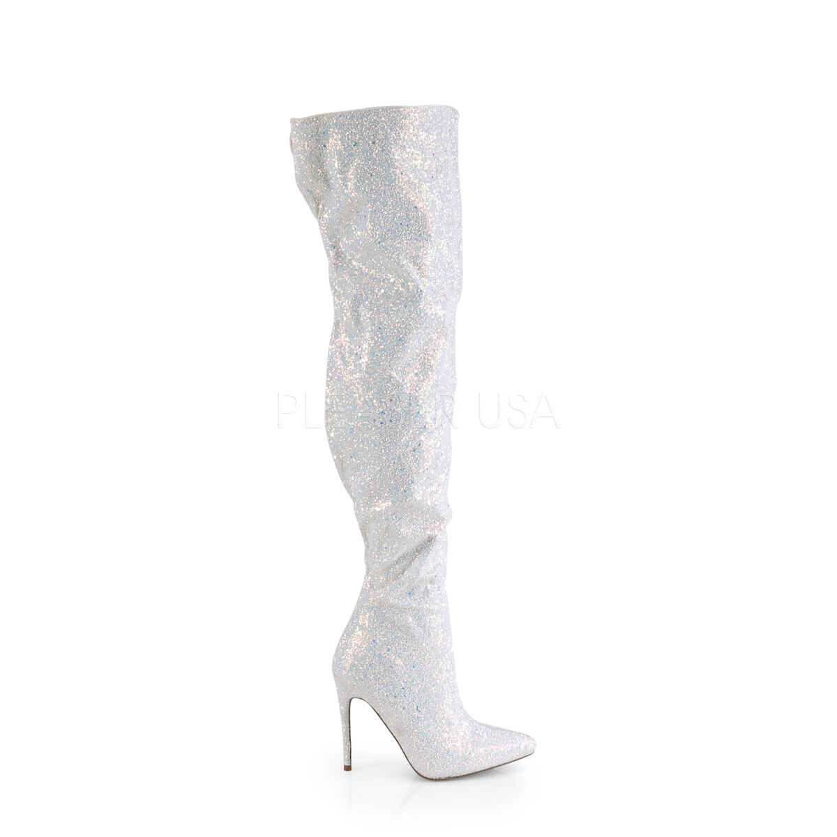 blanc Glitter Thigh High Mens Drag Queen Over the Knee bottes Womans Taille 13 14