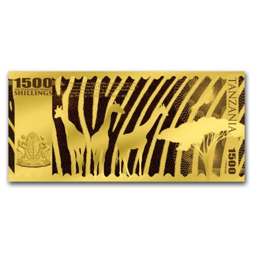 2018 Tanzania 1 gram Gold Big Five Elephant Foil Gold Note SKU#159750