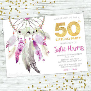 50TH-BIRTHDAY-INVITATIONS-FIFTY-PERSONALISED-PARTY-SUPPLIES-INVITE-BOHO-FLORAL