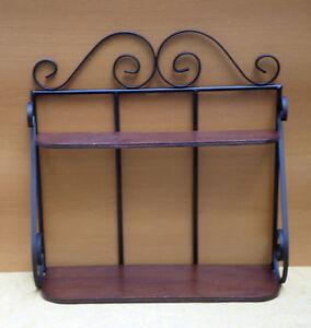 Mensola scaffale étagere in ferro battuto e legno per Cucina rustica ...