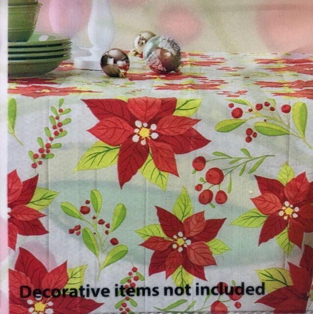 Christmas Holiday Vinyl Tablecloth Rectangle Tropical Poinsettia Fl New
