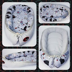 Baby nest pod cocoon XL SIZE 0-12 months HIGH QUALITY cats on white grey back