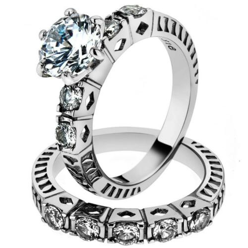 His /& Her 3pc Stainless Steel 3.10 Ct Cz Bridal Set /& Men/'s Classic Wedding Band