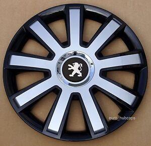 "black/silver 14"" wheel trims, hub caps, covers to peugeot 206"