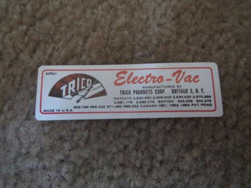 1957 CHEVROLET IMPALA CORVETTE FUEL INJECTION ELECTRO VACUUM PUMP DECAL