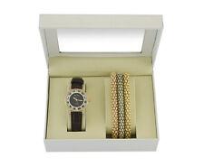 Time Design Damen Frauen Quarz Analoge Uhr Gold Armband Set Geschenk