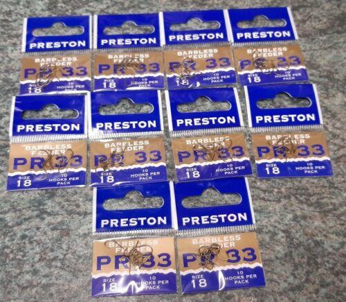 Preston PR 33 Hooks Barbless Feeder Spade End Size 18 x 10 packets