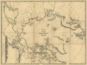 115327-TRAVEL-MAP-NORTH-POLAR-REGION-POLE-Decor-LAMINATED-POSTER-AU