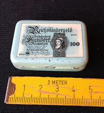 alte Spielgeld Blechdose/Kaufladen,Reichskindergeld,Reichsbanknote,100 Reichsmar