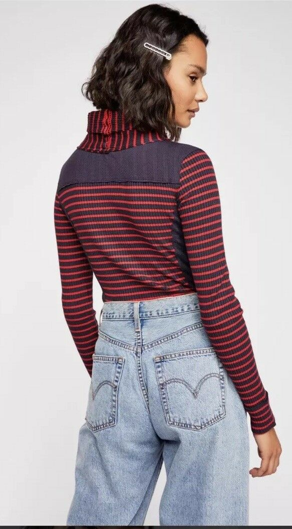 Free People We The Free Nora Turtleneck Striped Ribbed Top XS  78