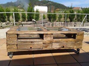 Tavolino in legno 120x80 con pallet bancali eur epal for Arredamento con bancali legno