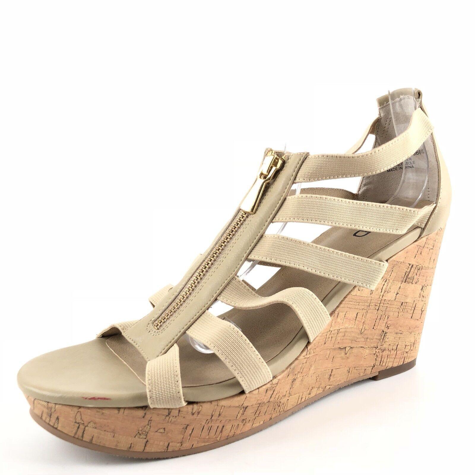 New Abound Vessa Natural Leather Platform Cork Wedge Sandals Women's Size 10 M