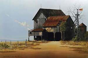 Whispers-From-the-Past-Ken-Fleisch-Country-Barn-Western-Landscape-Windmill-Ltd
