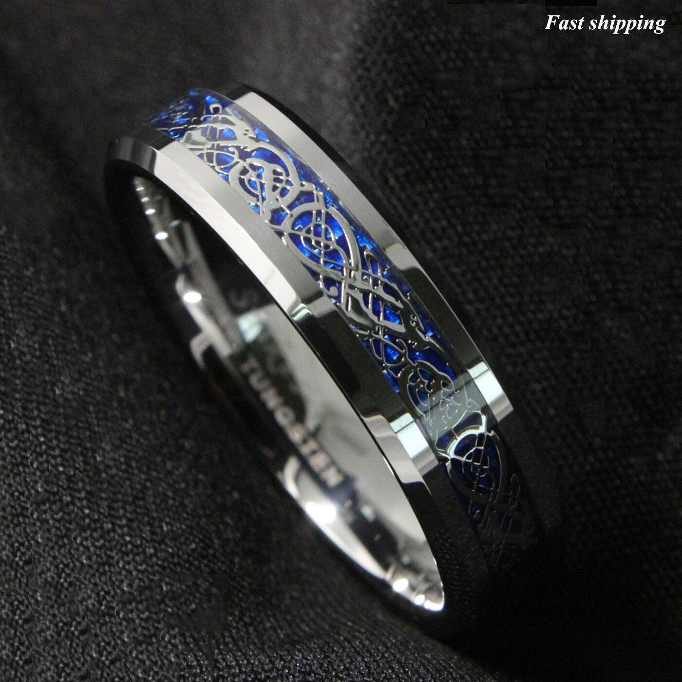 8 6Mm Silvering Celtic Dragon Tungsten Carbide Ring Wedding Band