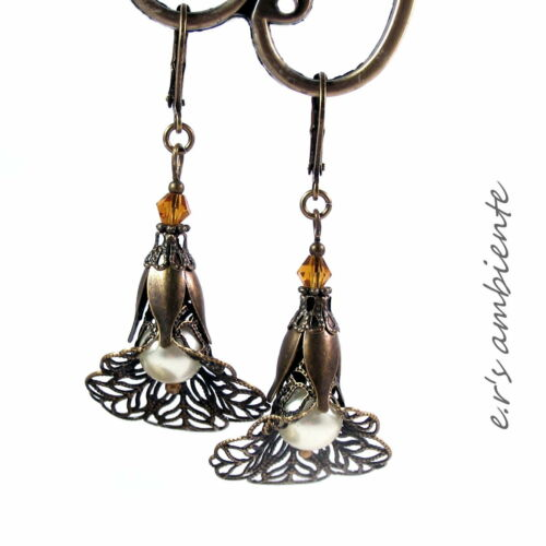 0389 Bronze-Vintage-Look MESSING-Blüten Ohrhänger Ohrringe mit Glas-Perlen u