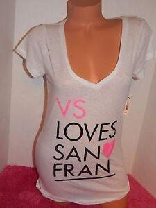 Victorias-Secret-Vs-Loves-San-Fran-t-shirt-M-sequin-glitter-foil-sparkle