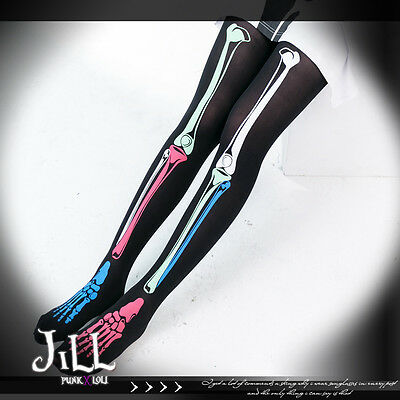 Street punk visual Modern Intoxicated skeleton X-RAY torso pantyhose J1B021