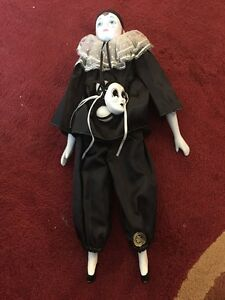 "Victoria Impex Corp Porcelain Clown Doll & Mask Jester 16"" Tall"