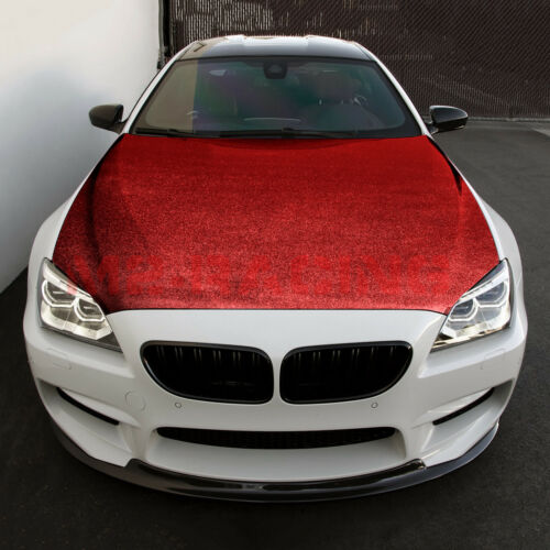"*12/""x60/"" Red Chrome Glitter Sparkle Car Vinyl Wrap Sticker Decal Bubble Free"