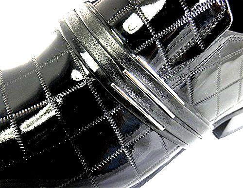 CHELSY HANDARBEIT LEDER LACK HERRENSCHUHE SCHWARZ KARIERT LEDER SOHLE SLIPPER SLIPPER SLIPPER 45    8fa32e