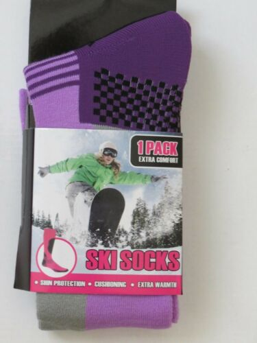LADIES WINTER SKI SOCKS SNOW HIKING RED PINK BLACK BLUE PURPLE 1 , 3  PAIRS