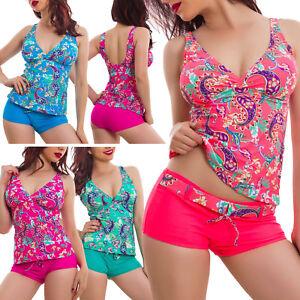 Bikini-tankini-donna-costume-bagno-mare-due-pezzi-multicolor-pantaloncini-DY7022