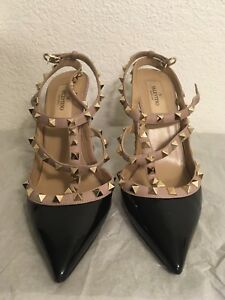 9c0e2feec25 Image is loading Valentino-Rockstud-Black-Leather-Blush-Trim-Ankle-Strap-