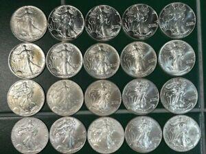 20 coin lot- 1987-2008 American Silver Eagles  All BU+++