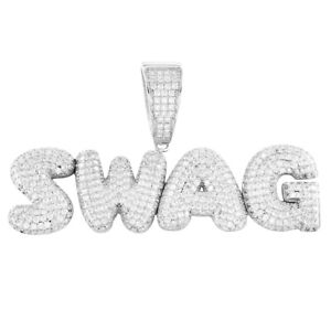 925 Sterling Silver White Gold-Tone Iced Style Hip Hop Swag Bling Bubble Letter I Pendant with 18 1 Row Chain