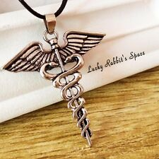 Percy Jackson Angle Wings Magic Wand Caduceus Pendant Necklace with Chain