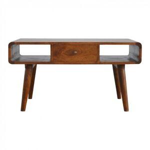 New Af Range Solid Wood 1 Drawer Curved Coffee Table Art Deco Chestnut 8906057249275 Ebay