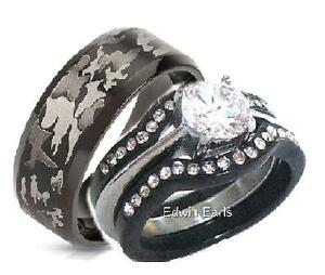 His And Hers Wedding Rings 4 Piece Cz Black Stainless Steel Black Camouflage Set   EBay
